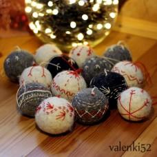 Новогодние елочные валяные шары
